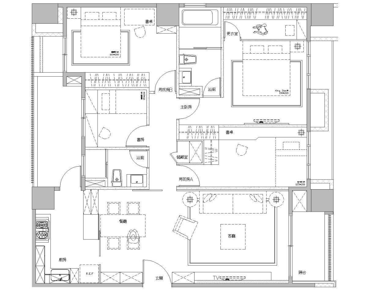 除了主卧室外,其他3居室都差不多的小,还有畸零地;在拆除厨房隔断、又更动房间的墙壁后,空间变得有层次。平面图片提供 / 莳筑设计