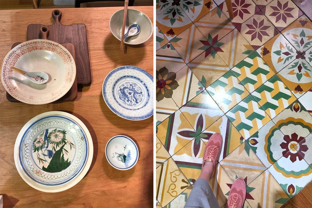 旧物仓设计品牌,在即将拆迁的房屋中搜集到许多老家具、器皿,经过整理后,可能锁上新的螺丝或补上新的颜料,展现历久弥新的风韵。其中旧花砖的部分目前共有2万多片的收藏,不刻意重新翻新,保留古旧风韵。