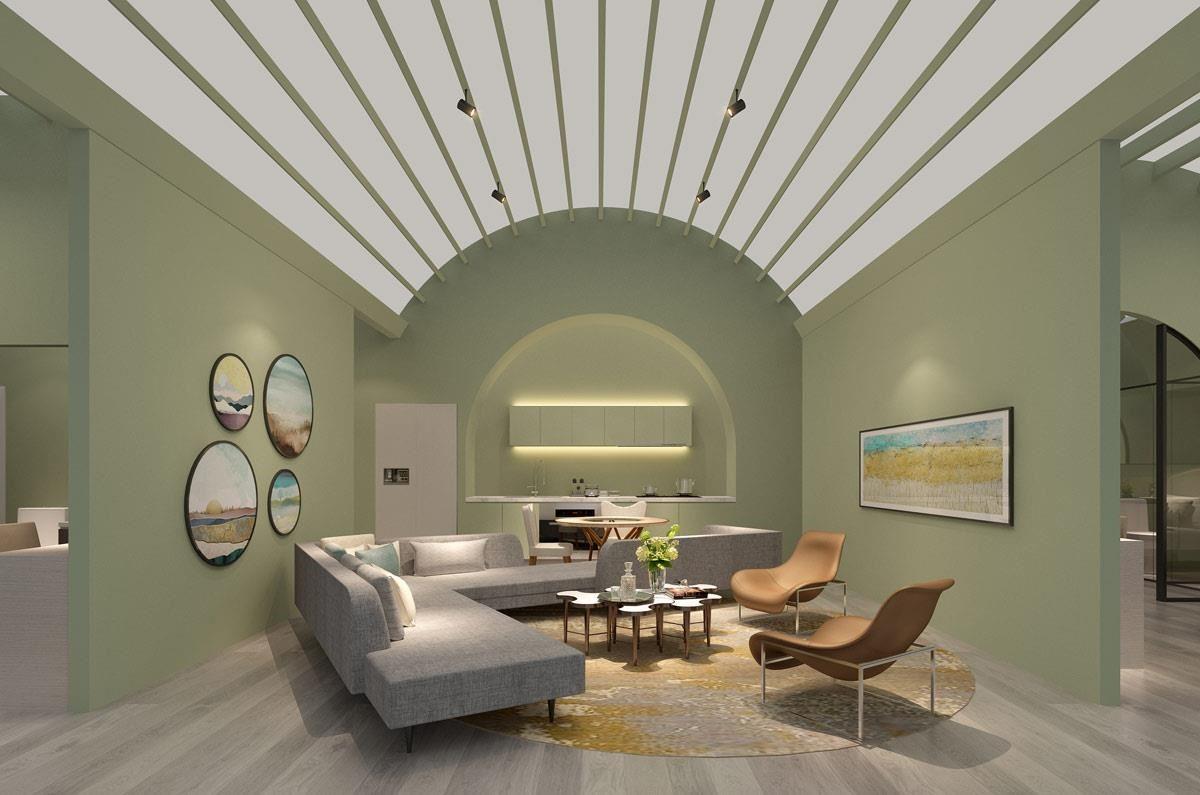 梁景华设计师大胆设计了斜型沙发,在小户型空间里,可扮演区隔空间的效果,降低隔间墙带来的封闭感。