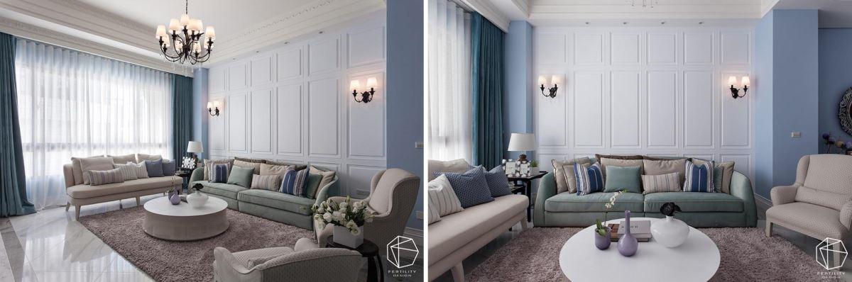 空间整体采用深浅有致的蓝紫色作为墙面主色,与白色线板相互搭配,形塑丰富层次感。