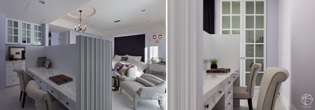 特地规画双人书桌,半高的隔断围塑出安静的阅读角落,让屋主可在房间享有不受干扰的宁静。