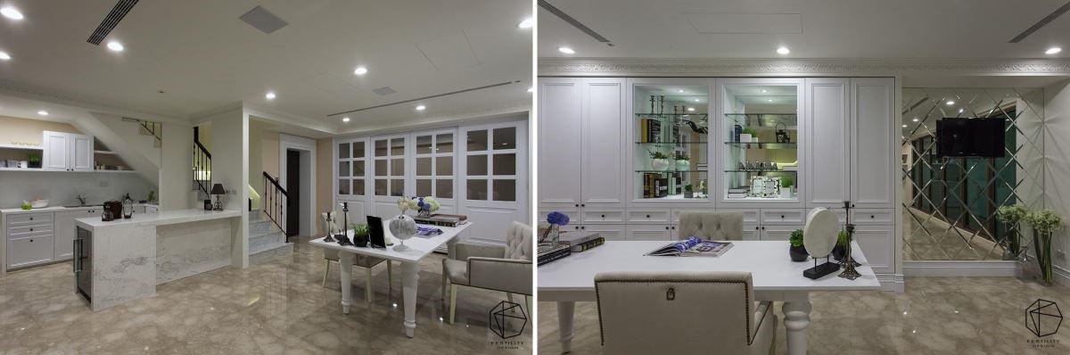 除了配有吧台与桌椅,白色门面后更规划居家健身房,带来极致享受。
