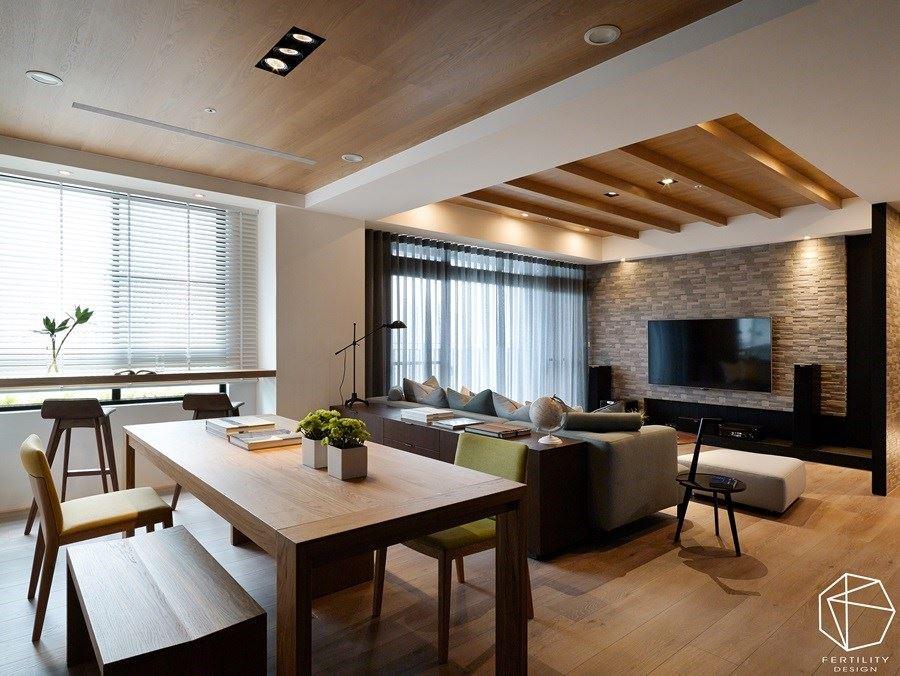 整体呈现开放式格局,相当适合作为招待亲友之用,并以温润的木作蔓延整个厅区空间,无论是安全性或风格营造都适合家中的每个年龄层。
