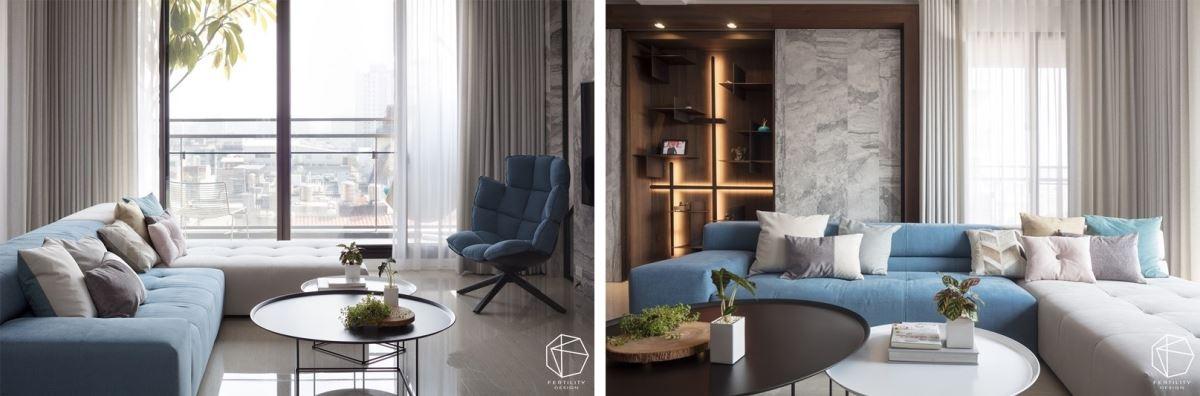 客厅运用色彩、材质营造宁静氛围,并给予适当留白,搭配深色的木皮、浅灰的砖材,让居家有了会呼吸的感受,屋主最爱坐在沙发上、看向天花板,是他在家最感无尽放松的时刻。