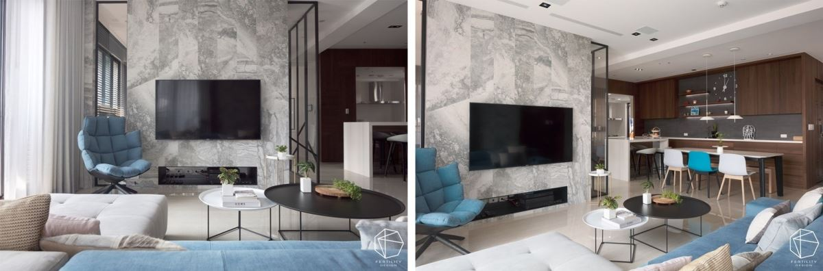 电视墙尽量呈现简单造型,以意大利进口壁砖做切割,衍生天然的石纹肌理,并发挥建材的通透性,以灰镜与玻璃做拼接,让人可从电视墙看到后方书房,形构延伸的开阔的视线。