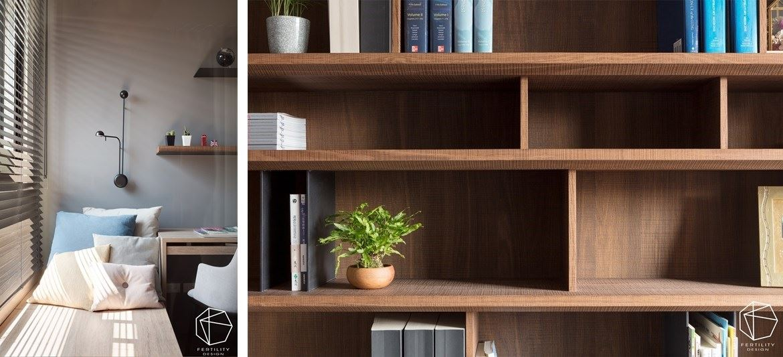 书房内的飘窗是阅读的绝佳位置,并在墙面镶嵌一座黑色几何壁灯,搭配绿意窗景,创造静谧不被打扰的氛围。