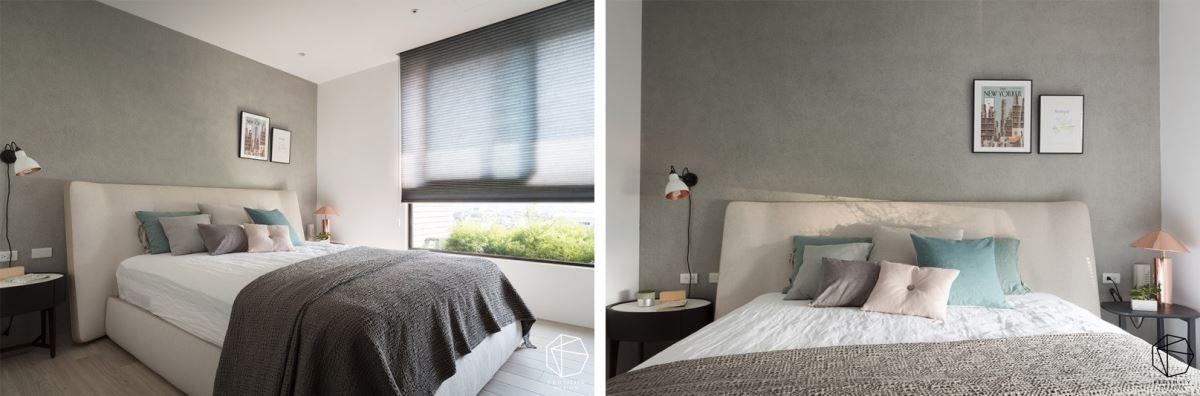 主卧内,于床头刷上仿清水模漆,还原生活的自然本质,营造纾压感受,且刻意减少固定式的家具,多一点生活展现的余裕。