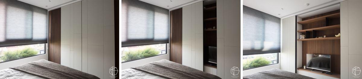 卧房将电视隐藏起来,运用四片门同时收整电视柜、衣柜、走道等机能,并善用木皮混搭皮革,让色块不致太重,看起来具有完整平均的对称感。