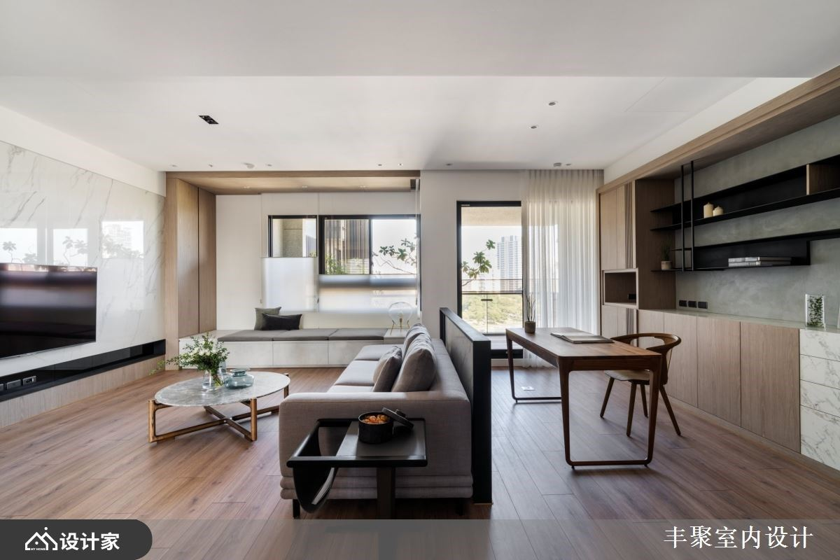 完全化解风水疑虑!隔断设计让158平米现代风住宅有风格、有收纳还有稳稳靠山