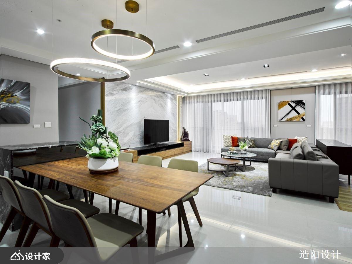 370 平米双客厅现代风住宅,中岛厨房+咖啡吧台打造退休宅经济