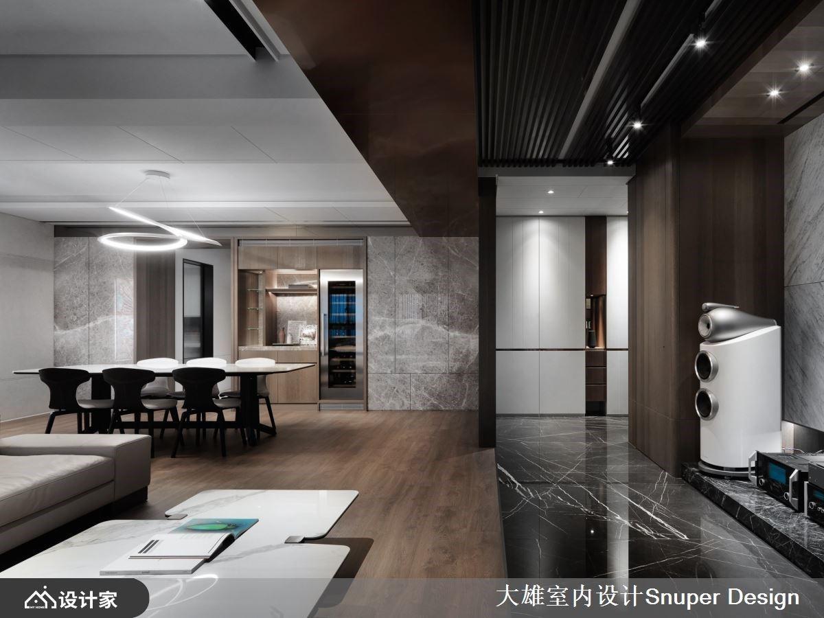 大理石与木纹混搭极致表情,搭配光带艺术一展精致大器的豪宅