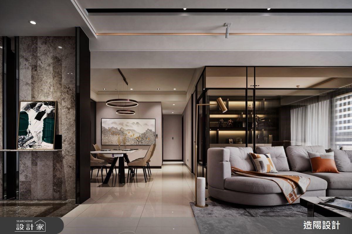 76坪奢华现代宅,细腻石纹交织高质感的生活品味与空间美学
