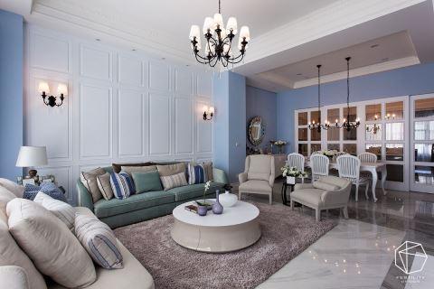 气质爆棚!令你想拎包入住的蓝色新古典别墅